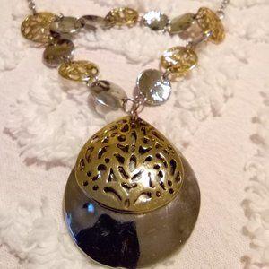 Two Tone Y Drop Coin Link Necklace